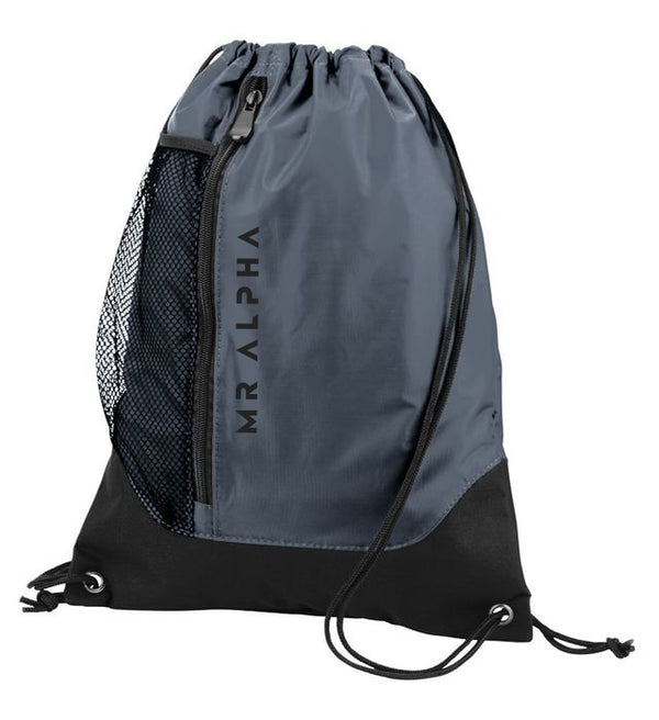 Grey Front Zipper Drawstring Backpack