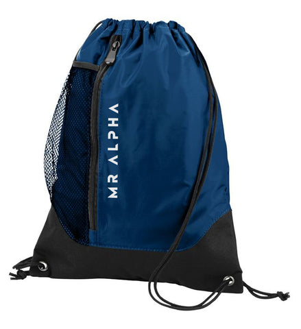 Navy Front Zipper Drawstring Backpack