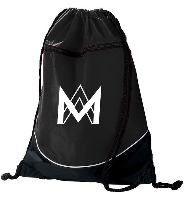 Black Top Zipper Drawstring Backpack