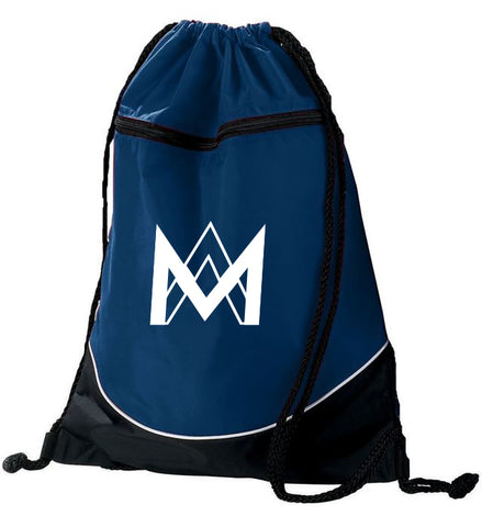 Navy Top Zipper Drawstring Backpack