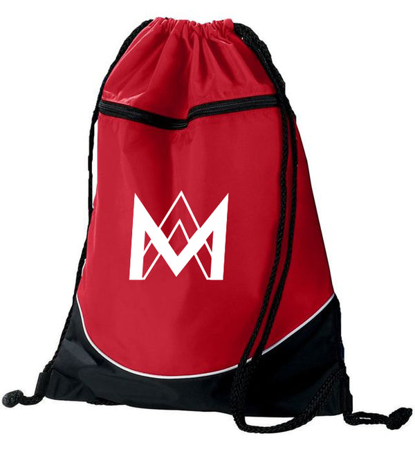 Red Top Zipper Drawstring Backpack