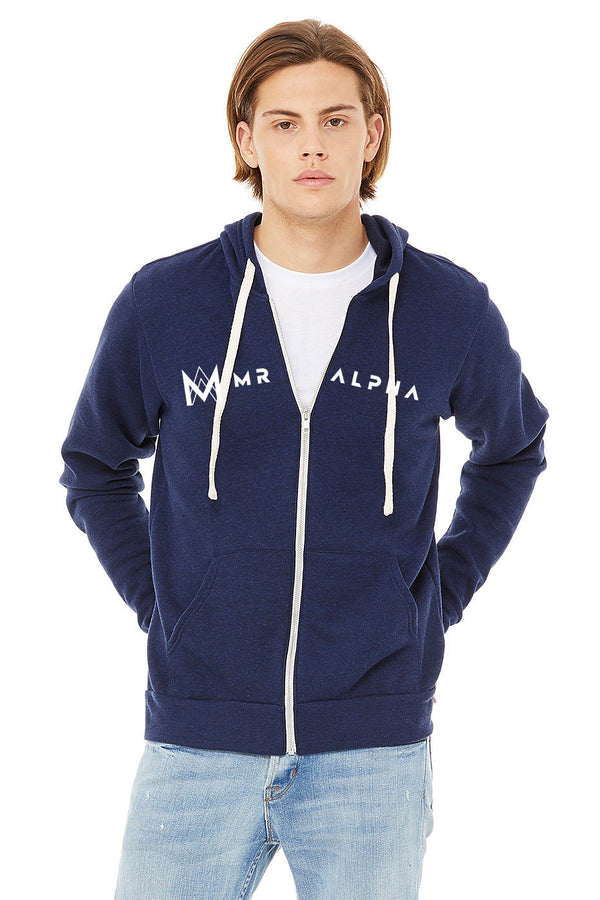 Navy Zip Up Fleece Hoodie