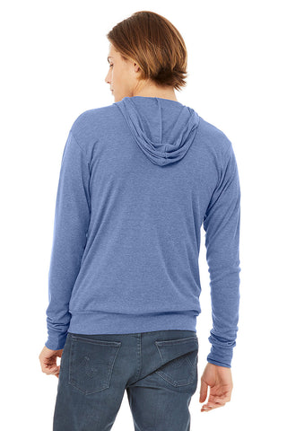 Lightweight Blue Zip Up Hoodie