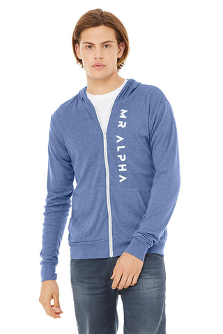 Lightweight Zip Up Hoodie Blue