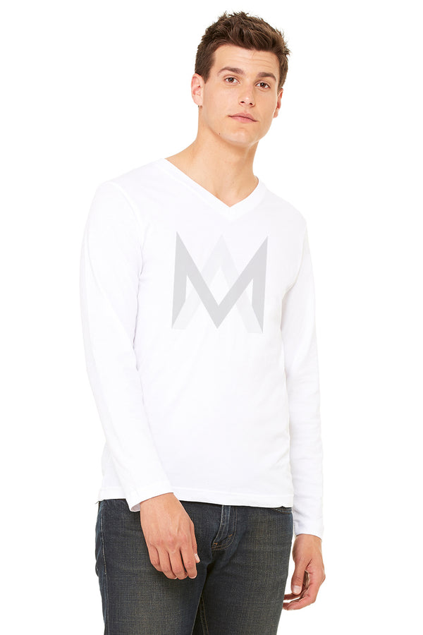 White Long Sleeve V-Neck Shirt
