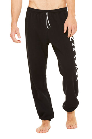 Black Ankle Scrunch Fleece Sweatpants