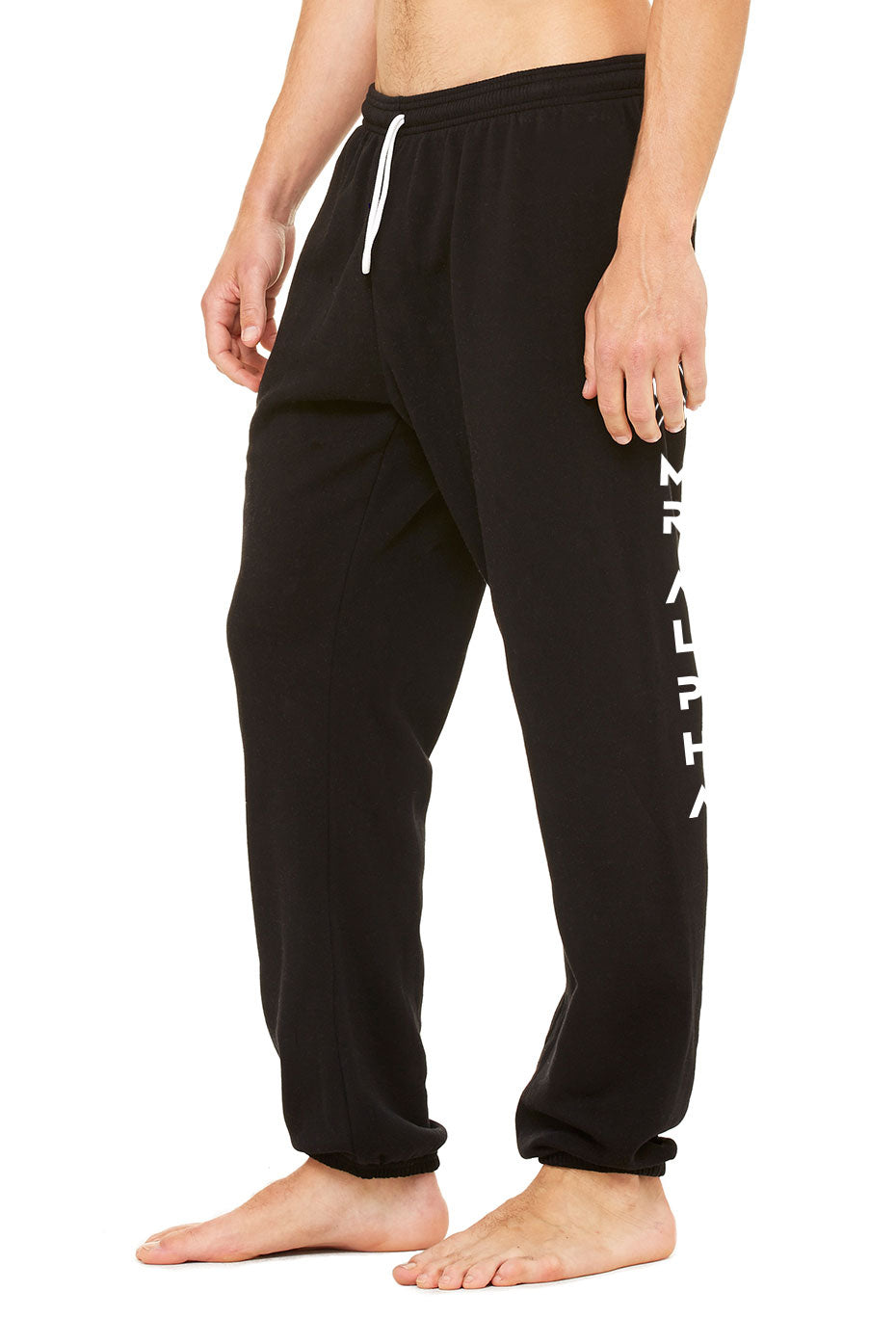 Ankle Scrunch Fleece Sweatpants Black