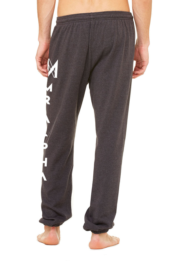 Dark Grey Ankle Scrunch Fleece Sweatpants