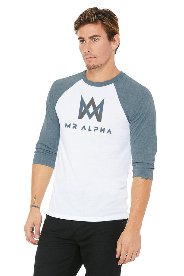 White & Blue Baseball Raglan