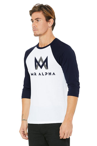 White & Navy Baseball Raglan