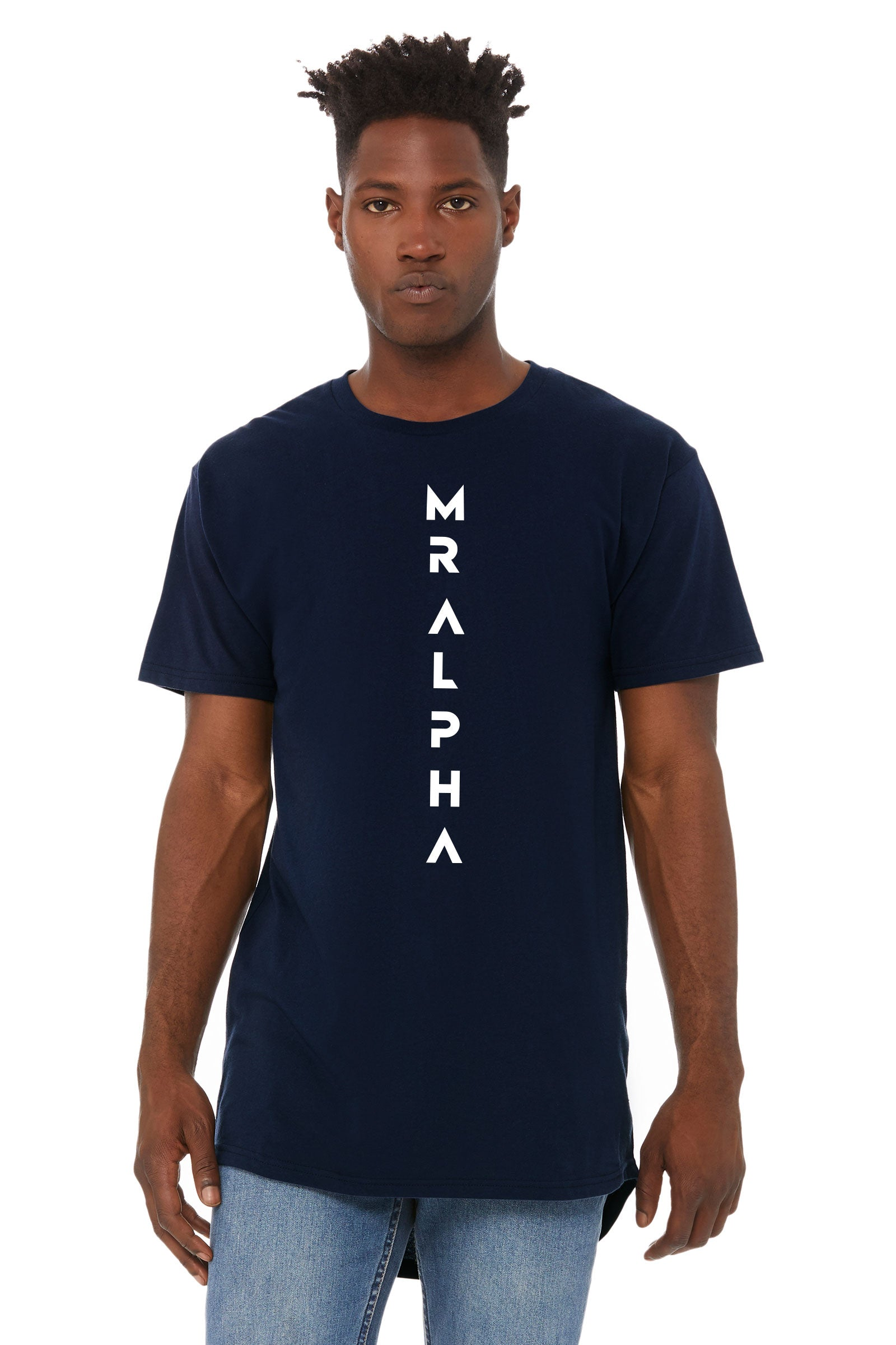 Navy Short Sleeve Long Body Tee