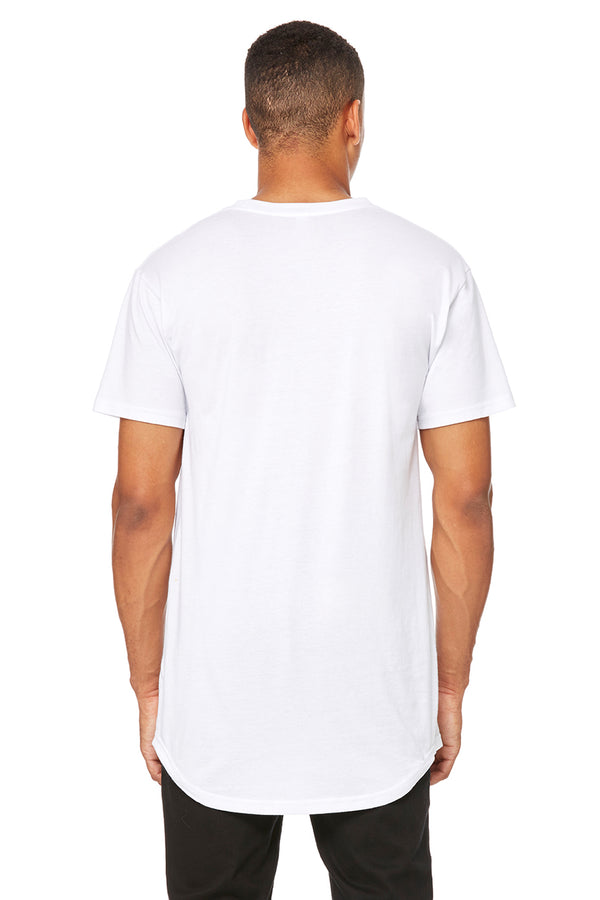 White Short Sleeve Long Body Tee