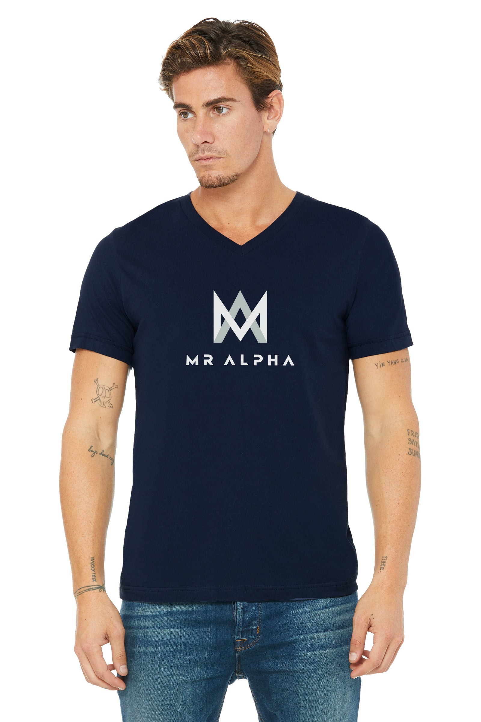 Short Sleeve Jersey V-Neck Navy