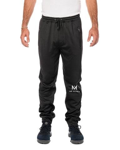 Zipper Pockets Fleece Joggers-Black