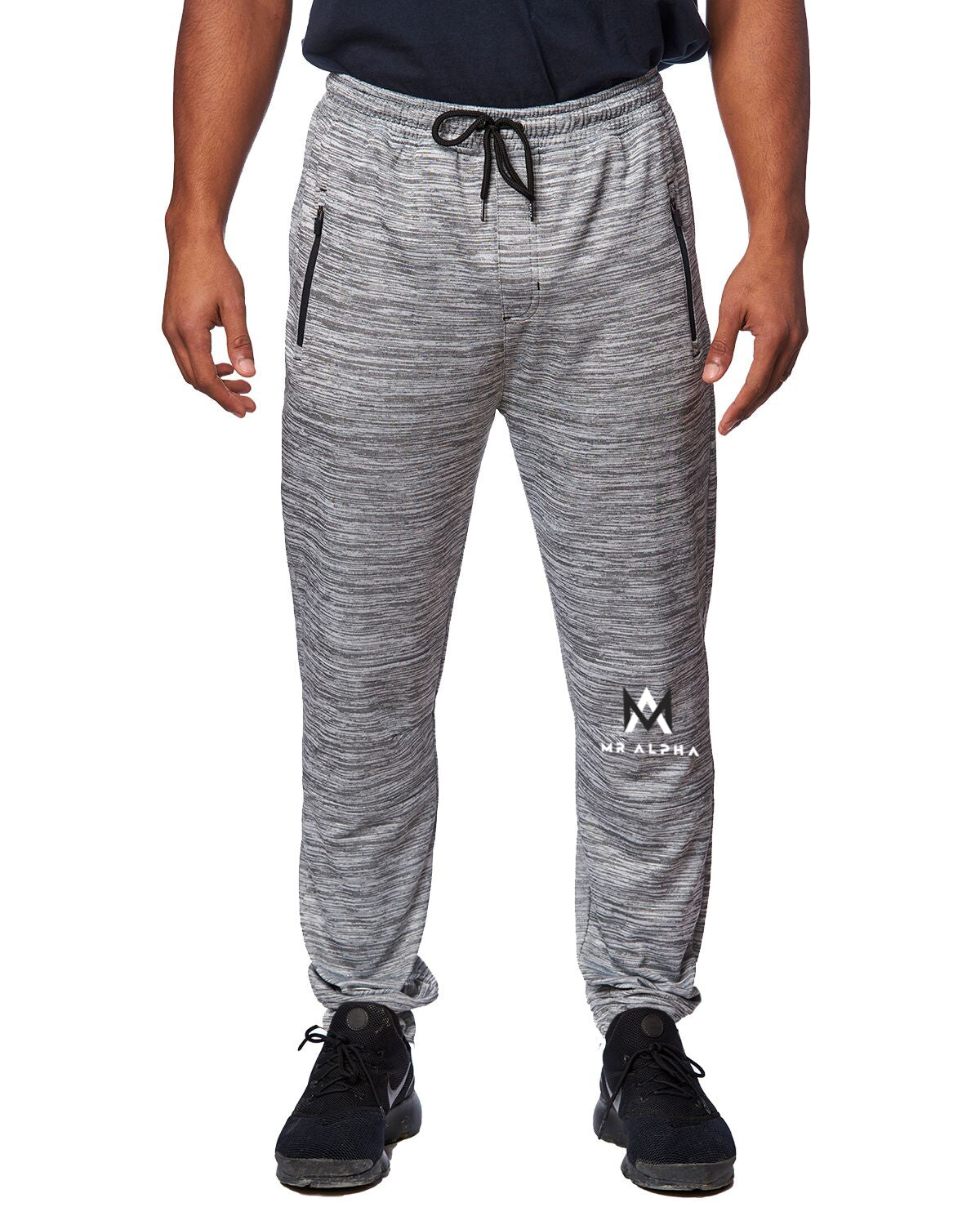 Zipper Pockets Fleece Joggers-Grey