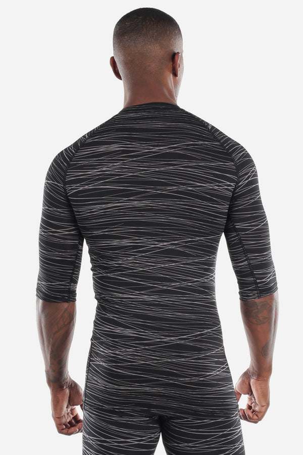 Print Half Sleeve Compression Shirt Black/Grey