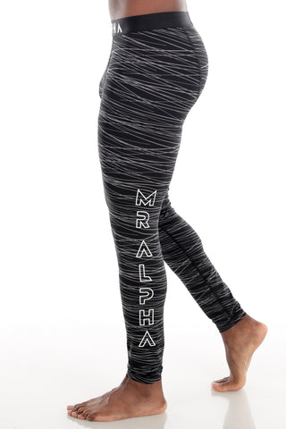 Print Ankle-Length Compression Tights Black/Grey