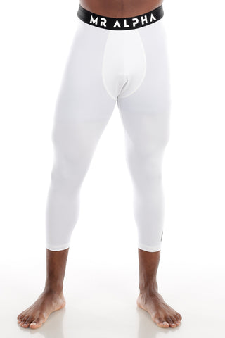 White Calf-Length Compression Tights