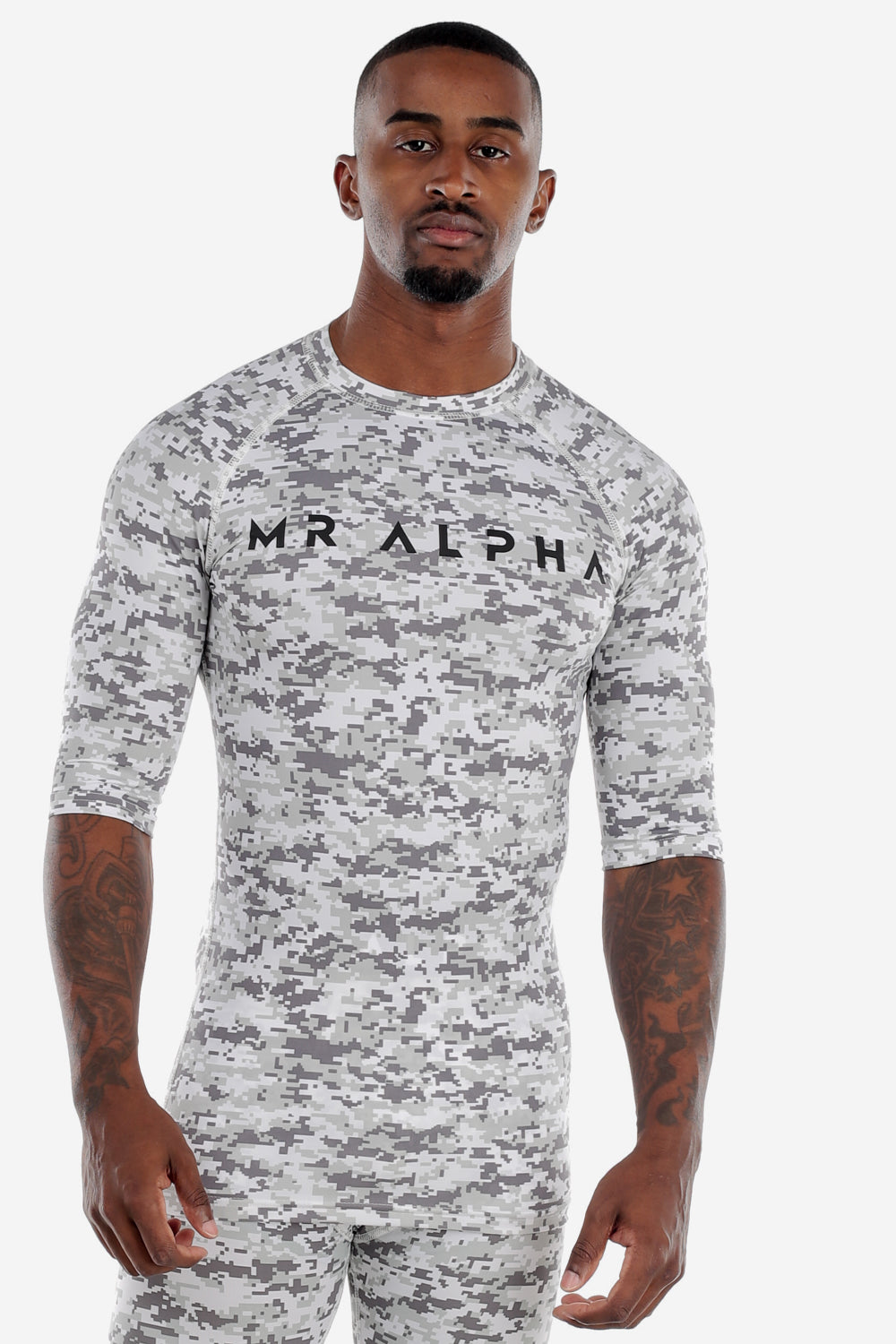 Digi Camo Print Half Sleeve Compression Shirt White