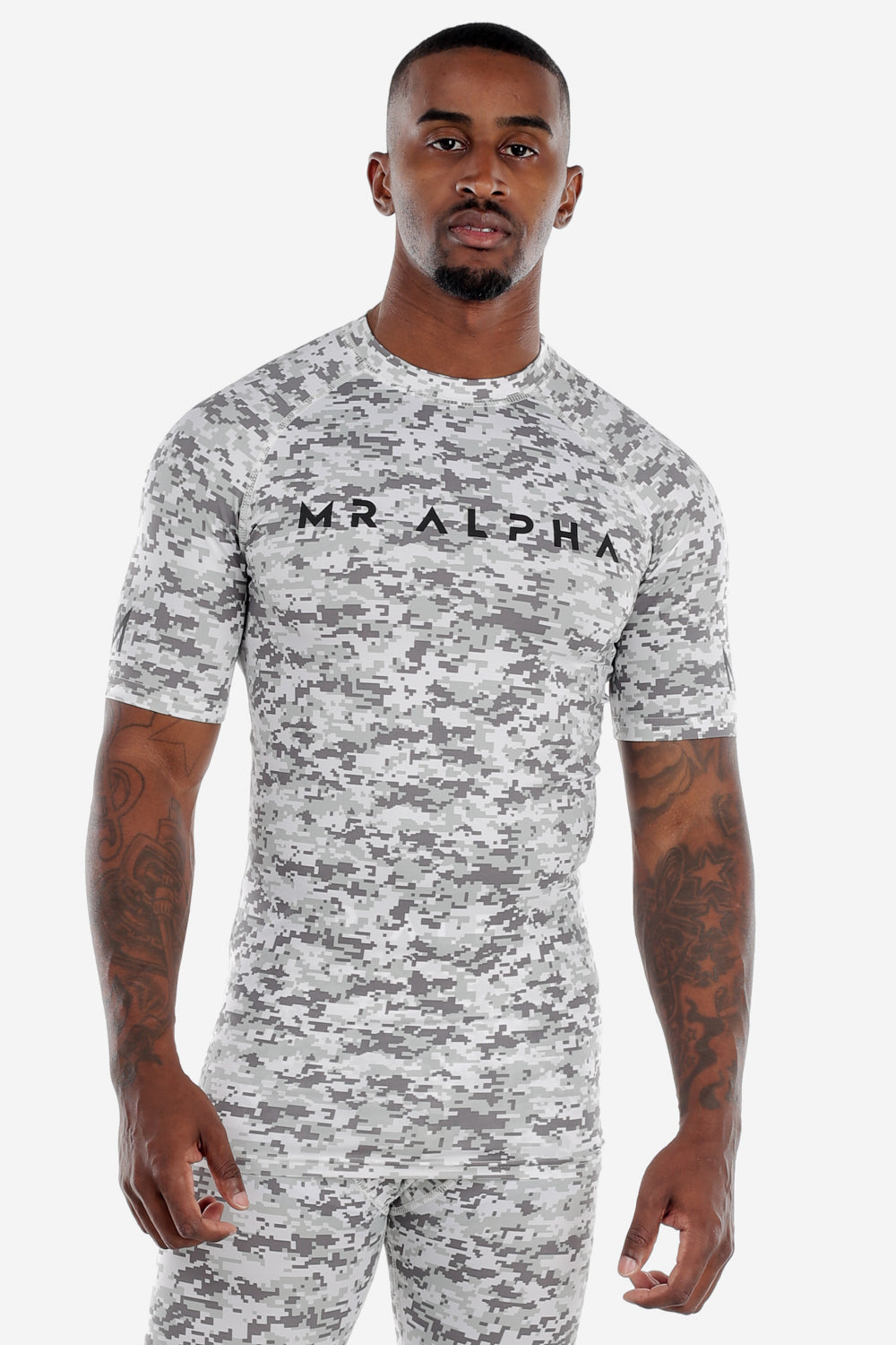 Grey Camo Short Sleeve Compression Shirt