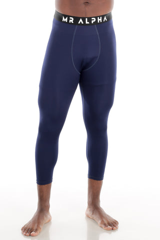 Calf-Length Compression Tights - Navy