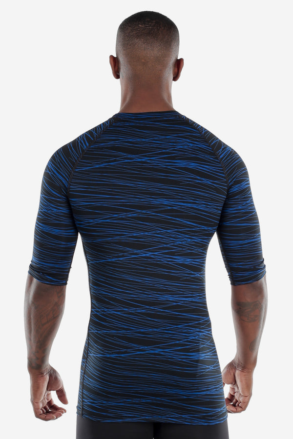 Print Half Sleeve Compression Shirt Black/Blue