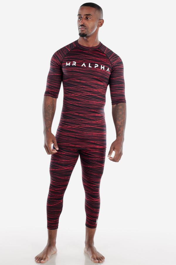 Print Half Sleeve Compression Shirt Black/Red