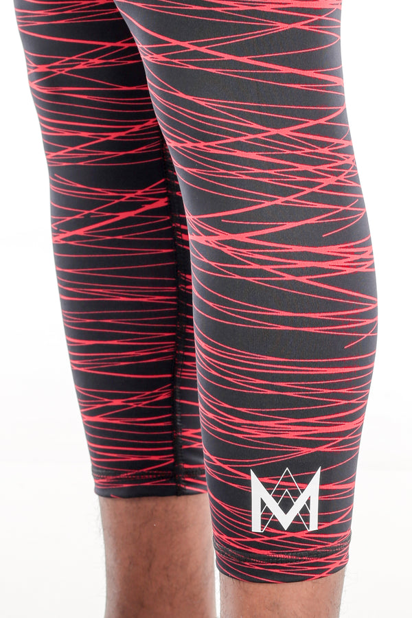 Black/Red Print Calf-Length Compression Tights