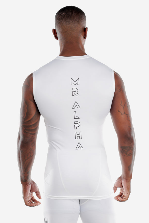 White Sleeveless Compression Shirt