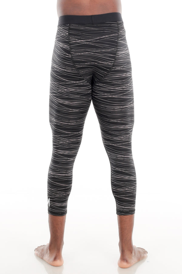 Black/Grey Print Calf-Length Compression Tights
