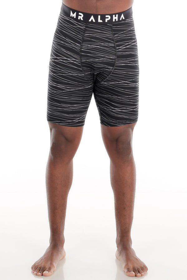 Black/Grey Print Compression Shorts