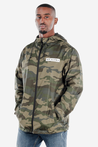 Lightweight Zip Up Windbreaker Green Camo