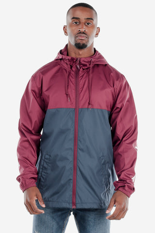 Lightweight Zip Up Windbreaker Maroon/Navy