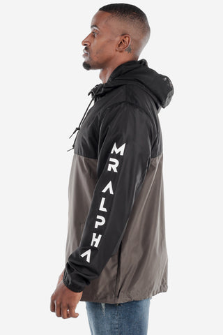 Lightweight Zip Up Windbreaker Black/Grey