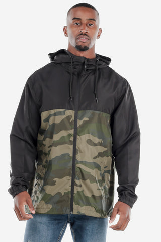 Lightweight Zip Up Windbreaker Black/Camo