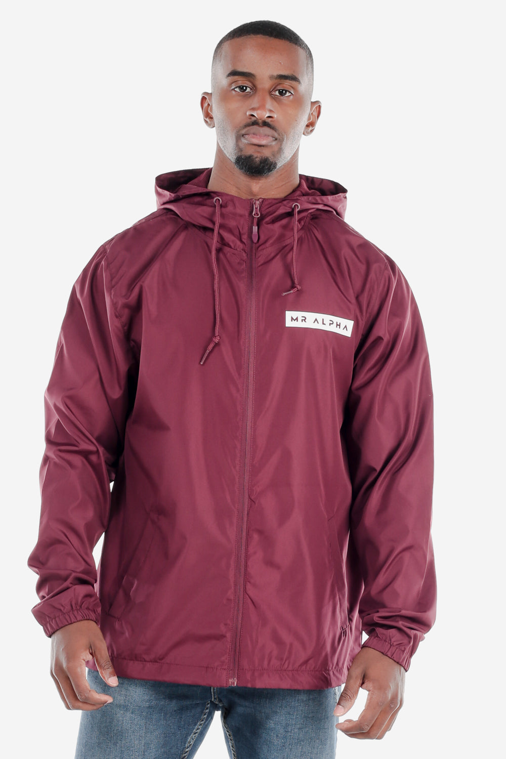 Lightweight Zip Up Windbreaker Maroon
