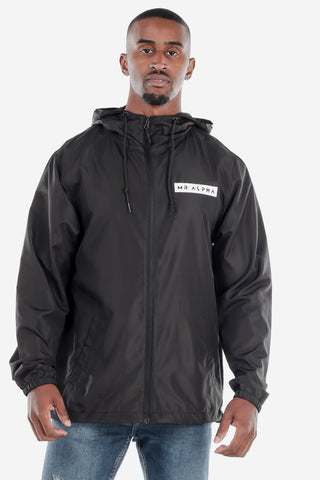 Black Lightweight Zip Up Windbreaker