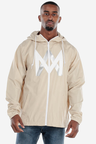 Lightweight Zip Up Windbreaker - Beige