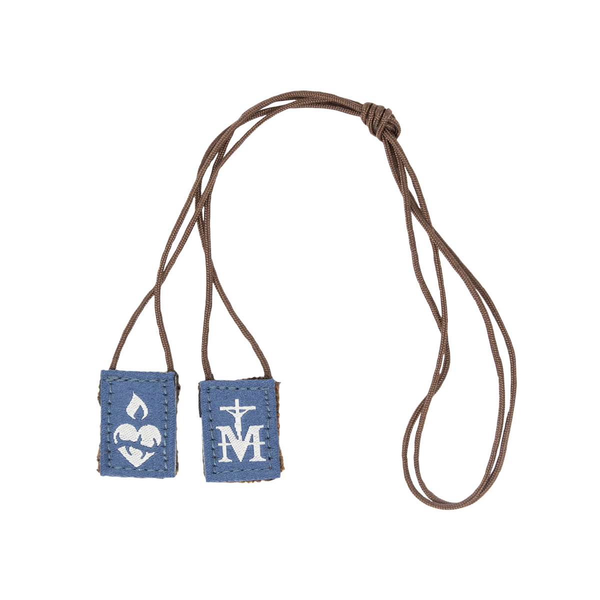 Premium Brown Scapular, Navy & Brown (Mini) - scapulars.com®