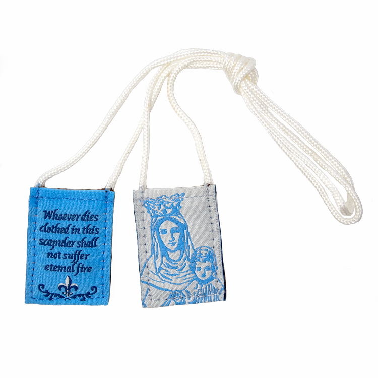 Premium Brown Scapular, Blue & White, Our Lady of Mt. Carmel (Kids' Size) - scapulars.com®