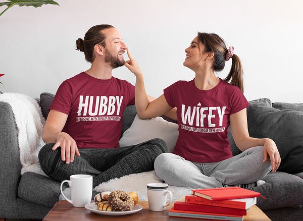 hubby wifey couple t-shirt, mr mrs couple tshirt , best couple tshirt online in india