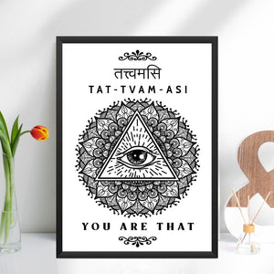 sanskrit quote poster, Spiritual Indian Art Tatvamasi,  Indian Home Decor, White Black Minimalist