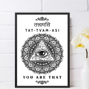 Tat-Tvam-Asi Sanskrit Quote Wall Art Framed Poster