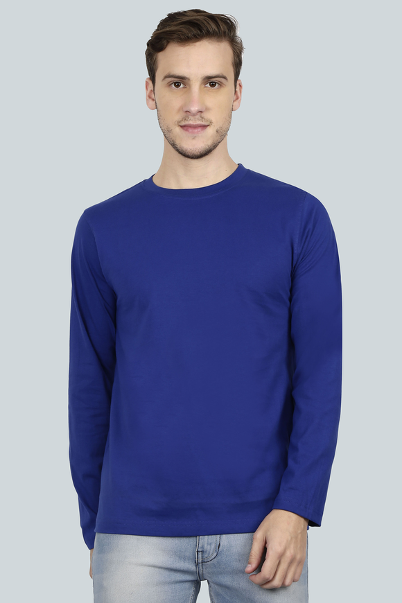 Plain Royal Blue - Men Full Sleeve Round Neck T-Shirt