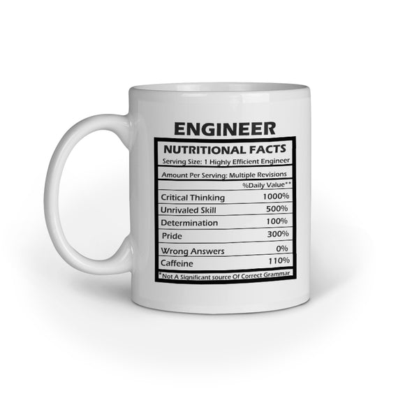 Engineer Nutritional Facts Printed Coffee Mug - White (11oz/330ml) - nautunkee