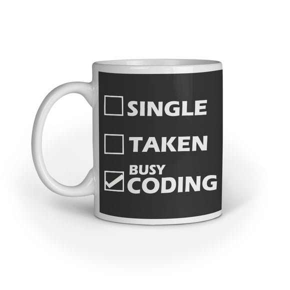 Busy Coding Printed Coffee Mug - Black (11oz/330ml) - nautunkee