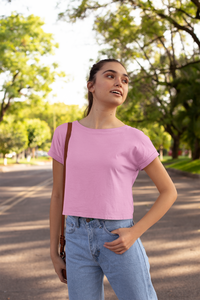Light Pink Plain Crop Top For Women