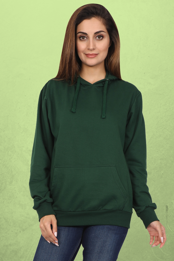 Plain Green Hoodie For Women Online in India - nautunkee