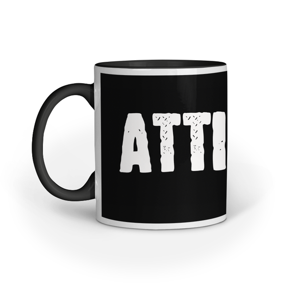 Attitude Printed Coffee Mug - Black (11oz/330ml) - nautunkee