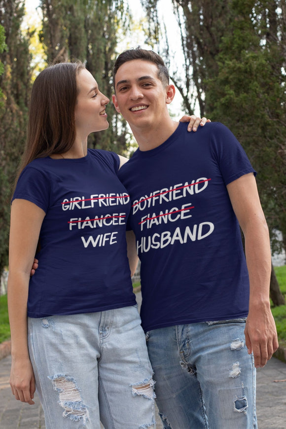 fiance to husband fiancee to wife matching couple tshirt - nautunkee.com